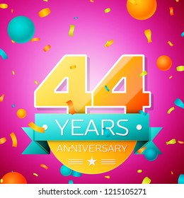 Realistic Forty four Years Anniversary Celebration design banner. Gold numbers and cyan ribbon, balloons, confetti on pink background. Colorful template elements for your birthday party