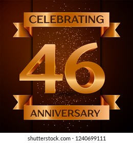 Realistic Forty six Years Anniversary Celebration design banner. Golden number, confetti and ribbon on brown background. Colorful template elements for your birthday party