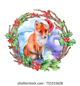 A Realistic Fox In Santas Red Hat In A Christmas Wreath With Holly Illustration