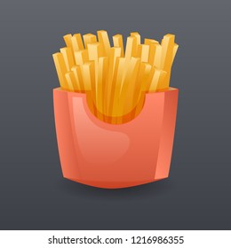 Realistic Franch Fries Fast Food Icon Cartoon Symbol Template  Illustration