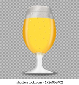 Realistic glass of beer with bubbles and foam. Detailed realistic illustration isolated on transparent background