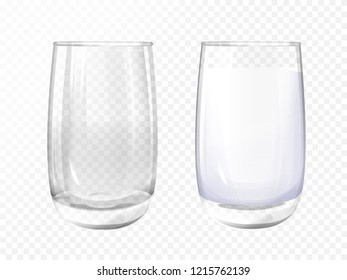 realistic glass empty and milk cup on transparent background. 3d glassware for water, juice, bar beverage and soft, alcohol drink. Fragile crockery mockup for restaurant, cafe design.