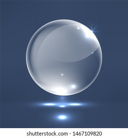 Realistic glass sphere. Graphic concept for your design, 3d illustration
