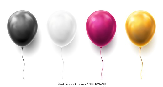 Realistic glossy golden, purple, black and white balloon illustration on background. Balloons for Birthday, festive occasions, parties, weddings. Festival romantic decorations.