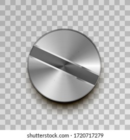 Realistic glossy metal screw on transparent background