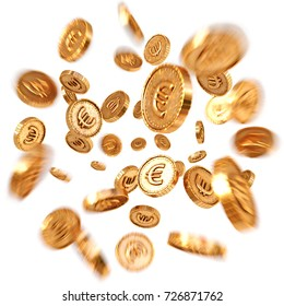 Realistic Gold coins explosion. Isolated on white background. 3d rendering.