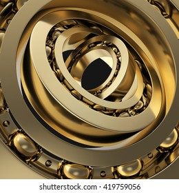 Realistic gold whirling bearing in the bearing black background. 3d illustration