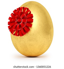 Realistic golden egg with a red bow. Isolated on white background. 3d rendering