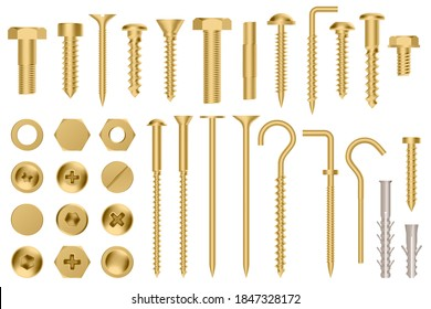 Realistic golden hardware. Construction gold metal hex cap nuts, 3d metal fixation gear, stainless screws and bolts  illustration icons set. Eye hook, head fastener, metal rivet