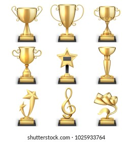 Realistic golden trophy cups and sports awards set. Triumph sport award and prize, winner trophy gold cup illustration
