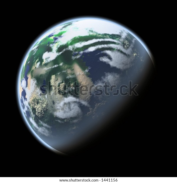 realistic graphic of an earth-like planet and climate