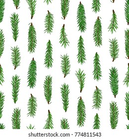 Realistic green fir tree branches seamless pattern on white background.  Christmas, new year symbol. Art raster illustration