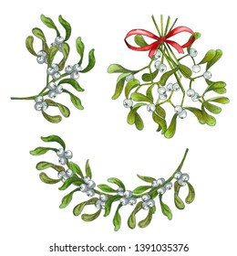 realistic hand drawn mistletoe branch with berry and leaves. Watercolor Christmas plants set. Christmas, new year symbol. Isolated illustration on a white background. Mistletoe kiss