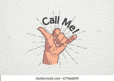 Realistic hand gesture - call me. Shaka. Gestures and signals: dial my number, call me back, dial my number, contact by phone. Flat illustration