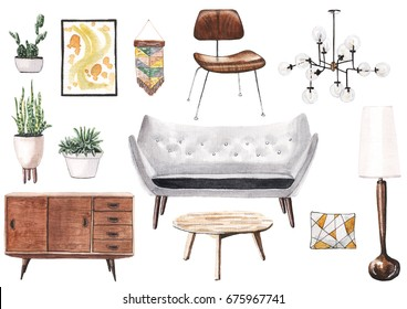 Realistic hand painted watercolor illustration of mid-century furniture. Wooden commode and coffee table, wooden chair, house plants in pots, glass cosmic chandelier, gray sofa, wall decor.
