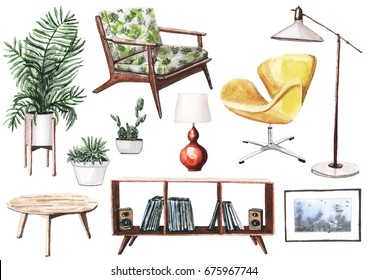 Realistic hand painted watercolor illustration of mid-century furniture. Wooden rack with vinyl and coffee table, yellow chair, retro red table lamp, floor lamp and house plants in pots.