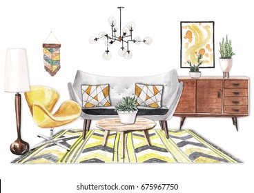 Realistic hand painted watercolor illustration of interior design living room in mid-century style. Gray sofa, wooden commode and floor lamp, yellow chair, yellow rug, glass chandelier.