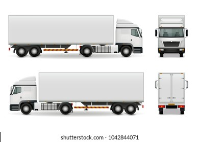 Realistic heavy truck with white cab and trailer, side view front and rear advertising mockup  illustration