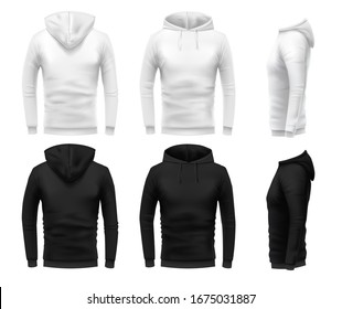 Realistic hoodie mockup. Black sweatshirt, white urban wearing hoodie and realistic clothes template 3D sweatshirts with hoodie  set. Black and white hoody in different angle views