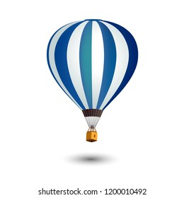 Realistic Hot Air Balloon isolated on white background.
