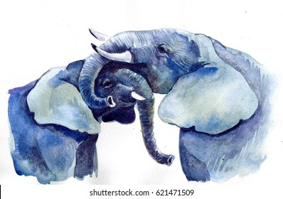Realistic hugging elephants on a white background. Watercolor illustration