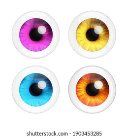 Realistic Human Eyes Set with Reflections on a white background. 3d Rendering