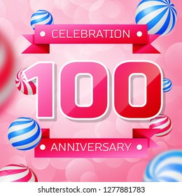 Realistic Hundred Years Anniversary Celebration design banner. Gold numbers and blue ribbons, balloons on blue background. Colorful  template elements for your birthday party