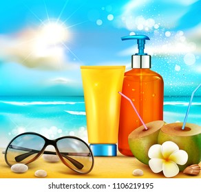 realistic illustratin. 3d bottles  with sun protection cosmetic products. Sunblock cream standing on the beach on the background of the ocean. Template, for magazine or ad,brochure, flyer, banner