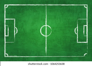 Realistic illustration football or soccer field on chalkboard texture background . Image for international world championship tournament 2018 concept .