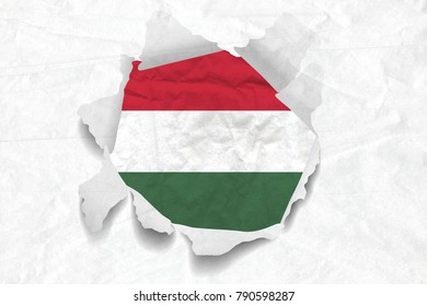 Realistic illustration of Hungary flag on torned, wrinkled, dirty, grunge paper. 3D rendering.