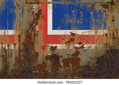 Realistic illustration of Iceland flag on dirty, rusty, grunge metallic surface. 3D rendering.