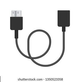The realistic illustration of micro usb 3.0 type-b to adapter. Connector or plug for connecting and charging phones, mobile devices, computers, tv, tablets, and game consoles.