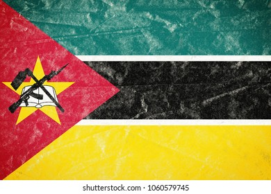 Realistic illustration of Mozambique flag on torned, wrinkled, dirty, grunge paper poster. 3D rendering.