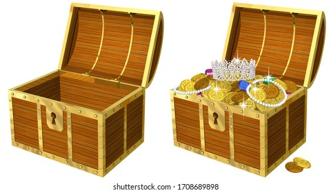 Realistic illustration of a treasure chest full of gold coins when opened, 3D artwork