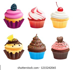 Realistic illustrations of cupcakes. Sweets for birthday party. Sweet dessert food and birthday yummy cupcake of set