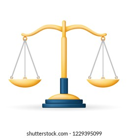 Realistic Justice Scales Law Balance Symbol Isolated Icon Design  Illustration