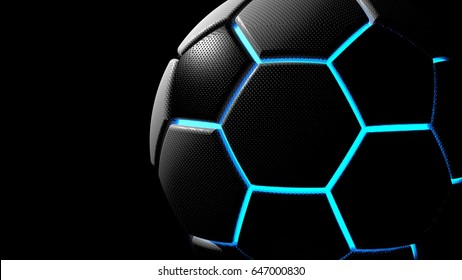 Realistic leather soccer ball or football ball closeup image with blue light. 3D illustration. 3D CG. High resolution.