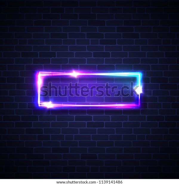 Realistic Led Neon Lights Frame Rectangle Stock Illustration