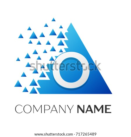 realistic letter o logo symbol in the colorful triangle with shattered blocks on white background
