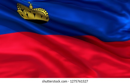 Realistic Liechtenstein waving flag, high quality 3d rendering