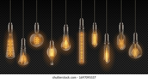 Realistic light bulbs. Vintage lamps hanging on wires, decoration glowing retro objects.  design lighting incandescent filament lamps set on transparent background