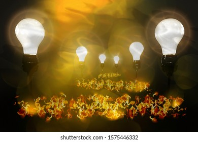 Realistic light bulbs with wire on the black background with burning fire. Lamps light in the fire. Electric bulb. Glowing light in the dark. 3D illustration