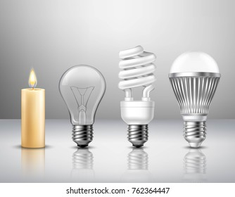 Realistic light evolution concept from candle to modern led bulb on glassy surface isolated  illustration