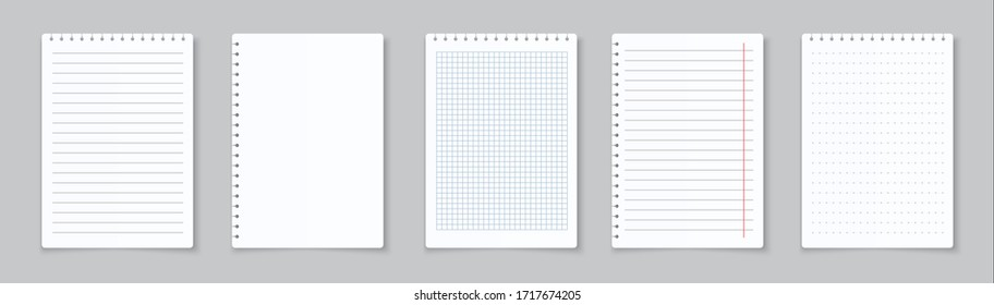 Realistic lined notepapers. Blank gridded notebook papers for homework and exercises.  pads paper sheets with lines and squares for memo