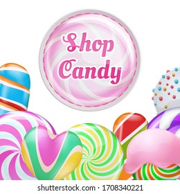 realistic lollipops background - candy shop banner design