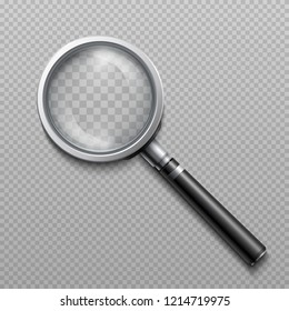 realistic loupe, magnifying glass scientific tool isolated