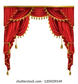 realistic luxury red curtains in victorian style, with drapery, tied with golden cord with tassels isolated on background. Decorative silk cloth with folds for cinema, theater, concert posters