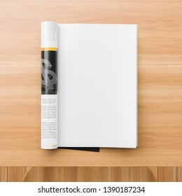 Realistic magazine or catalog mock up on wooden table. Blank magazine page for mockups. 3D illustration.