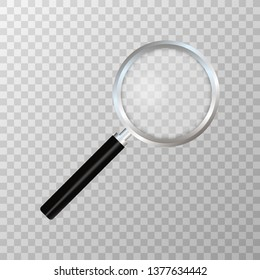 Realistic magnifying glass on transparent background. Search and inspection symbol. Bussiness concept. Sciene or school supplies.  stock illustration