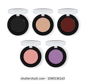 Realistic makeup cosmetics set isolated on white background  illustration. Colorful facepowder or eyeshadow container collection. Decorative facial cosmetics products, beauty fashion makeup